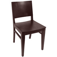BFM Seating SWC305CW-CW Dover Classic Walnut Colored Beechwood Side Chair with Wooden Seat
