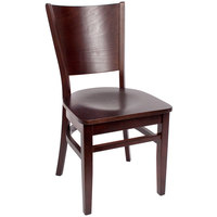 BFM Seating SWC301CW-CW Merion Classic Walnut Colored Beechwood Side Chair with Wooden Seat