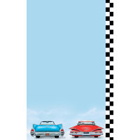 8 1/2 inch x 14 inch Menu Paper - Retro Themed Car Design Right Insert - 100/Pack