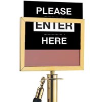 Aarco 8 1/2 inch x 11 inch Horizontal Brass Sign Frame for Rope Style Crowd Control Stanchions