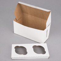 8 inch x 4 inch x 4 inch White Cupcake Box with Insert - 10/Pack