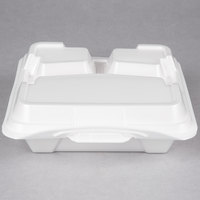 Genpak 203CO-WHT 9 1/4 inch x 9 1/4 inch x 3 inch White Large 3-Compartment Closed Off Foam Hinged Lid Container - 200/Case