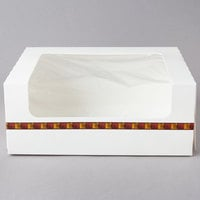 10 inch x 8 inch x 4 inch White Auto-Popup Window Cake / Bakery / Donut Box with Printed Graphic   - 10/Pack