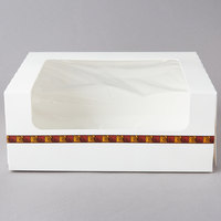 10 inch x 8 inch x 4 inch White Auto-Popup Window Cake / Bakery / Donut Box with Printed Graphic - 100/Bundle