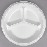 Genpak LAM39 Elite 8 7/8 inch White 3 Compartment Laminated Foam Plate - 125/Pack
