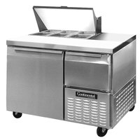 Continental Refrigerator CRA43-6 43 inch 1 Door 1 Half Door Refrigerated Sandwich Prep Table