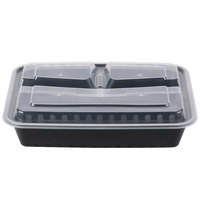 Choice 32 oz. Black 10 inch x 7 1/2 inch x 2 inch 3-Compartment Rectangular Microwavable Heavyweight Container with Lid - 150/Case