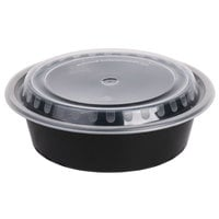 Choice 32 oz. Black 7 1/4 inch Round Microwavable Heavyweight Container with Lid - 150/Case
