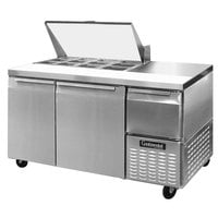 Continental Refrigerator CRA60-12M 60 inch 2 Door 1 Half Door Mighty Top Refrigerated Sandwich Prep Table