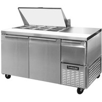 Continental Refrigerator CRA68-12M 68 inch 2 Door 1 Half Door Mighty Top Refrigerated Sandwich Prep Table