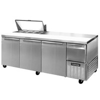 Continental Refrigerator CRA93-8 93 inch 3 Door 1 Half Door Refrigerated Sandwich Prep Table