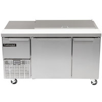 Continental Refrigerator CRA60-18M 60 inch 2 Door 1 Half Door Mighty Top Refrigerated Sandwich Prep Table