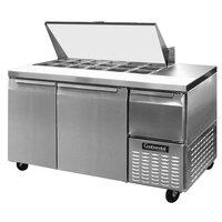 Continental Refrigerator CRA60-18M 60 inch 2 Door 1 Half Door Mighty Top Refrigerated Sandwich Prep Table