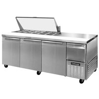 Continental Refrigerator CRA93-18M 93 inch 3 Door 1 Half Door Mighty Top Refrigerated Sandwich Prep Table