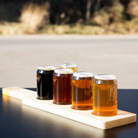 Libbey Can Glass Taster Flight Set - 4 Glasses with Natural Wood Paddle