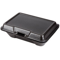 Genpak 20500-BLK 9 3/16 inch x 6 1/2 inch x 2 7/8 inch Black Large Deep All Purpose Foam Hinged Lid Container - 100/Pack