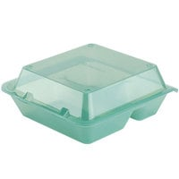 GET EC-01 9 inch x 9 inch x 3 1/2 inch Jade Green 3-Compartment Reusable Eco-Takeouts Container   - 12/Case