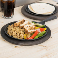 Lodge L6OG3 8 3/8 inch Round Pre-Seasoned Cast Iron Griddle with Handle