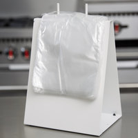 Choice Deli Saddle Bag Stand with Plain 6 1/2 inch x 6 1/4 inch Deli Bags - Flip Top
