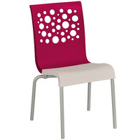 Grosfillex US210187 Tempo Indoor Stacking Resin Chair with Raspberry Back and Linen-Color Seat - 4/Pack