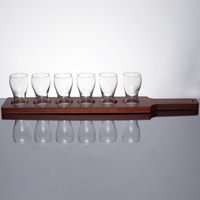 Libbey Mini Pub Glass Beer Flight - 6 Glass Set with Red Brown Paddle