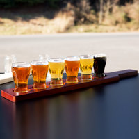 Libbey Mini Pub Glass Beer Flight Set - 6 Glasses with Red Brown Paddle