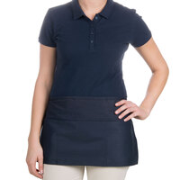 24 inch x 12 inch Navy Blue Front of the House Waist Apron with Three Pockets