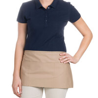24 inch x 12 inch Khaki Front of the House Waist Apron with Three Pockets