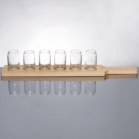 Libbey Can Glass Taster Flight Set - 6 Glasses with Natural Wood Paddle