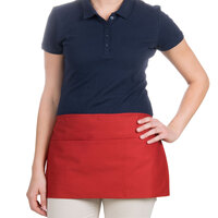 24 inch x 12 inch Red Front of the House Waist Apron with Three Pockets