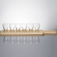 Libbey Mini Pub Glass Beer Flight Set - 6 Glasses with Natural Wood Paddle