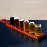 Libbey Can Glass Taster Flight Set - 6 Glasses with Red Brown Paddle