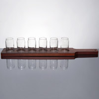 Libbey Can Glass Taster Flight - 6 Glass Set with Red Brown Paddle