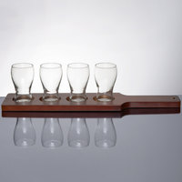 Libbey 5 oz. Mini Pub Glass Beer Flight Set - 4 Glasses with Red-Brown Beer Flight Paddle