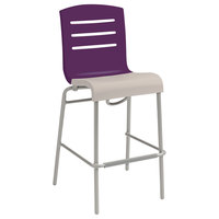 Grosfillex US510151 / US051151 Domino Eggplant / Linen Indoor Stacking Resin Barstool