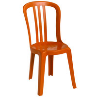 Grosfillex US495019 / US490019 Miami Bistro Orange Outdoor Stacking Resin Sidechair