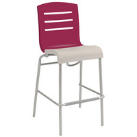 Grosfillex US510187 / US051187 Domino Raspberry / Linen Indoor Stacking Resin Barstool