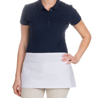 24 inch x 12 inch White Front of the House Waist Apron with Three Pockets