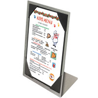 Menu Solutions MTPIX-46 Alumitique Aluminum Menu Tent with Picture Corners - Brushed Finish - 4 inch x 6 inch