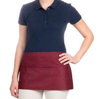 24 inch x 12 inch Burgundy Front of the House Waist Apron with Three Pockets