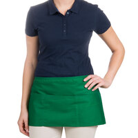 24 inch x 12 inch Green Front of the House Waist Apron with Three Pockets