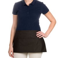 24 inch x 12 inch Brown Front of the House Waist Apron with Three Pockets