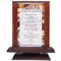 Menu Solutions WT-4S6-MAH 4 inch x 6 inch Mahogany Four Sided Rotating Wood Table Tent