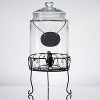 Core 1.75 Gallon Glass Beverage Dispenser with Metal Stand and Chalkboard Sign