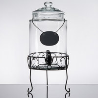 Core 1.75 Gallon Glass Beverage Dispenser with Chalkboard Sign and Metal Stand