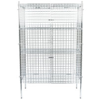 Regency NSF Stationary Chrome Wire Security Cage Kit - 24 inch x 48 inch x 74 inch