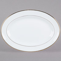 CAC GRY-13 Golden Royal 12 inch Bright White Oval Porcelain Platter - 12/Case