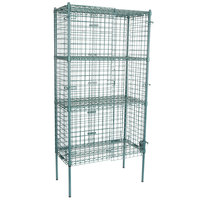 Regency NSF Stationary Green Wire Security Cage Kit - 18 inch x 36 inch x 74 inch
