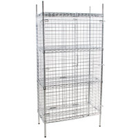Regency NSF Stationary Chrome Wire Security Cage Kit - 18 inch x 36 inch x 74 inch