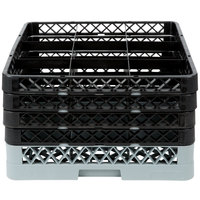 Noble Products 9-Compartment Gray Full-Size Glass Rack with 4 Black Extenders